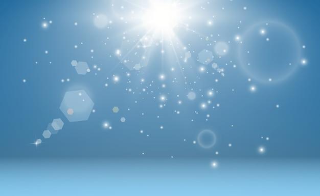 Lindas faíscas brilham com luz especial. brilhos.
