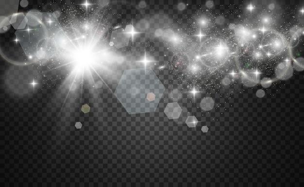 Lindas faíscas brilham com luz especial em um fundo transparente. padrão abstrato de natal