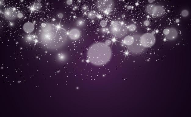 Lindas faíscas brilham com luz especial. fundo de luzes de natal