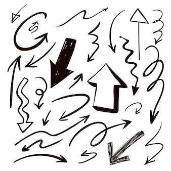 Lindas flechas pretas desenhadas à mão definem a coleção sobre o branco