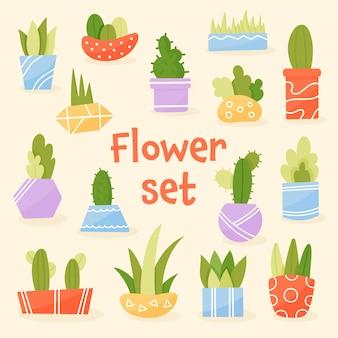 Lindas flores caseiras em vasos coloridos. jardinagem, produção agrícola. vetor premium