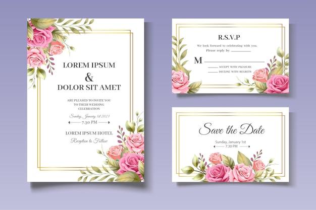 Lindas flores conjunto de cartão de convite de casamento