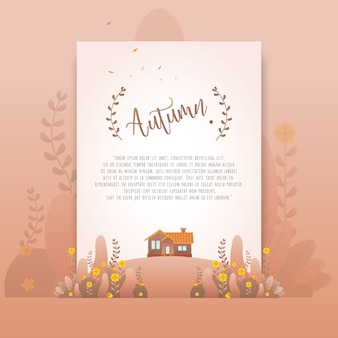 Lindas flores de gradiente floral marrom outono para cartão de convite