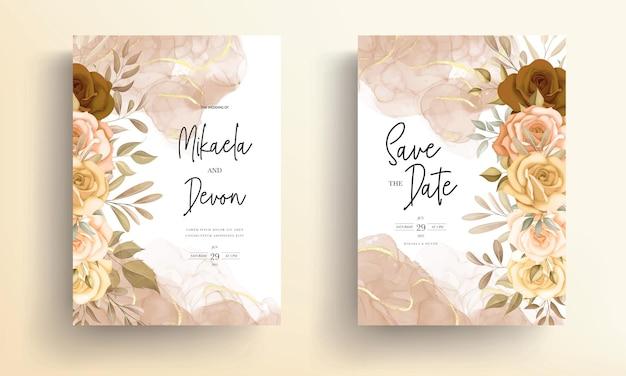 Lindas flores de outono e cartão de convite de casamento com tinta alcoólica