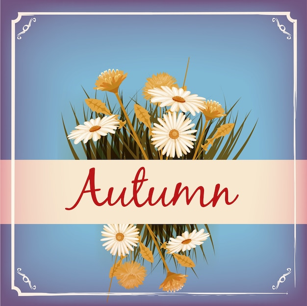 Lindas flores de outono, folhas, buquê, amarelo, marrom, laranja