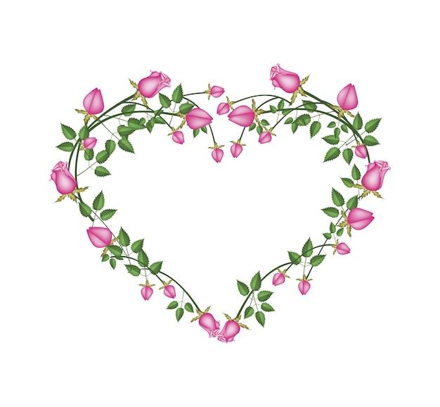 Lindas flores de rosas cor de rosa em forma de coração