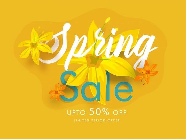 Lindas flores decoradas design de cartaz de venda de primavera