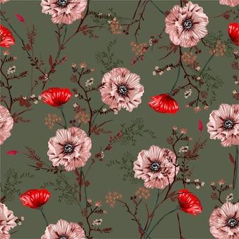 Lindas flores desabrocham peônias padrão sem emenda de humor vintage floral