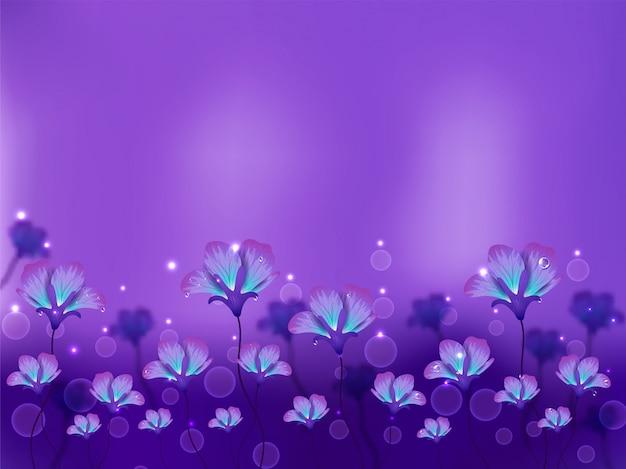 Lindas flores desabrochando e bolhas decoradas fundo roxo