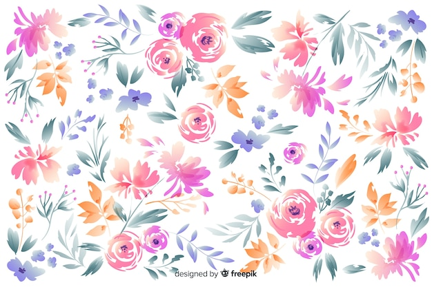 Lindas flores desenhadas à mão sobre fundo branco