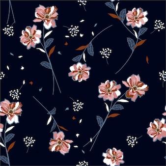 Lindas flores e flores de prado único soprando no vento sem costura padrão
