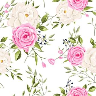 Lindas flores e folhas de padrão sem emenda