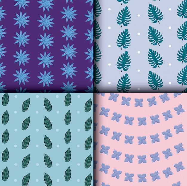 Lindas flores e folhas definir padrões