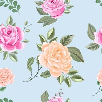 Lindas flores e folhas padrão sem emenda