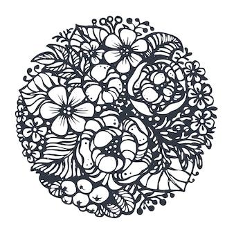 Lindas flores e plantas em círculo. desenhado à mão