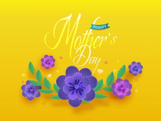 Lindas flores e texto feliz dia das mães em fundo amarelo.
