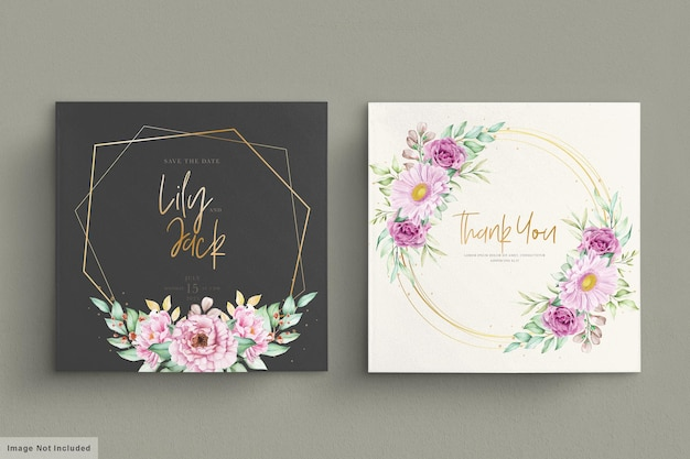 Lindas flores em aquarela conjunto de cartão de casamento