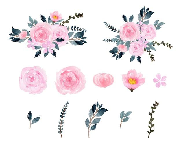 Lindas flores em aquarela rosa