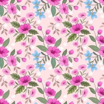 Lindas flores em padrão sem emenda de cor rosa doce para papel de parede de tecido têxtil.