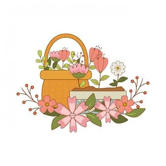 Lindas flores em pote e palha de cesta
