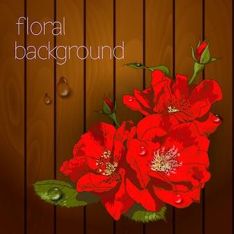 Lindas flores em uma textura de madeira.