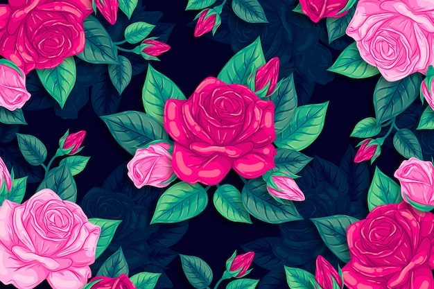 Lindas flores naturais rosas mão desenhada