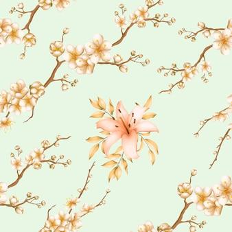 Lindas flores padrão sem emenda