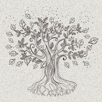 Lindas folhas abstratas da vida na árvore