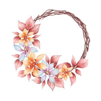 Lindas folhas coloridas em aquarela pintadas à mão e moldura de flores de primavera