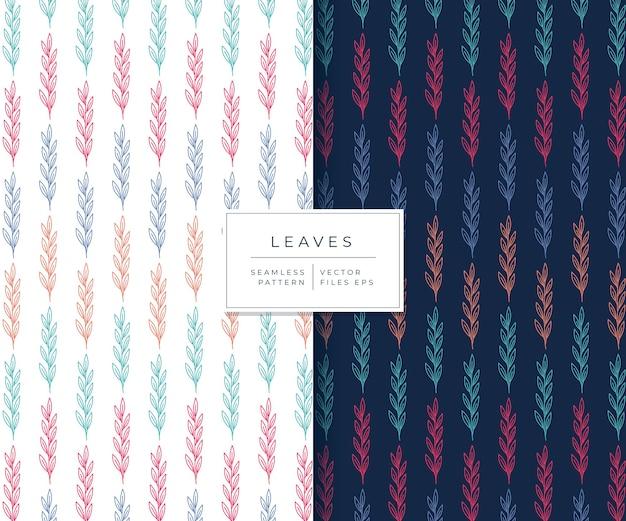 Lindas folhas coloridas verticais em um padrão sem emenda de fundo branco e azul