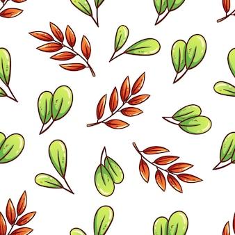 Lindas folhas de outono em padrão sem emenda com estilo colorido desenhado à mão
