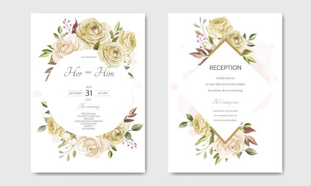 Lindas folhas florais modelo de cartão de convite de casamento