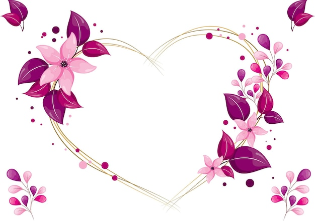 Lindas folhas florais rosa roxas com forma de coroa