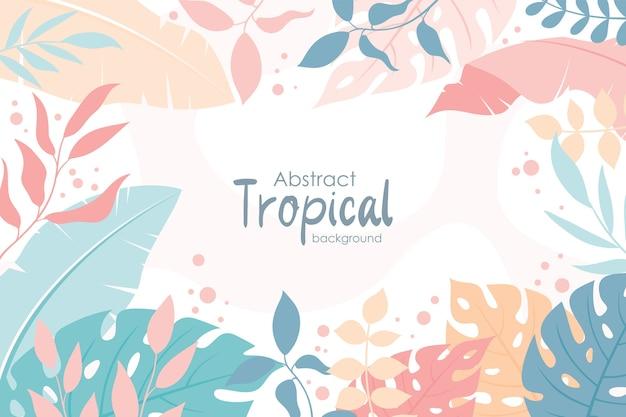 Lindas folhas tropicais com fundo de primavera, estilo simples e moderno