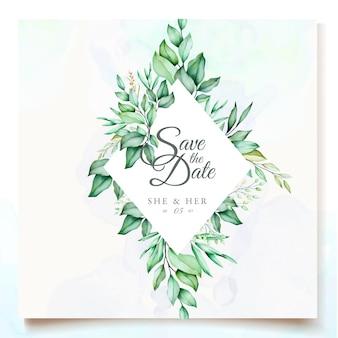 Lindas folhas verdes em aquarela modelo de cartão de casamento