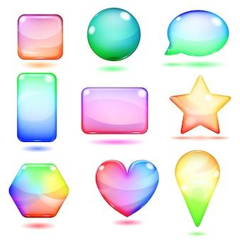 Lindas formas opacas multicoloridas feitas de vidro com reflexos e sombras