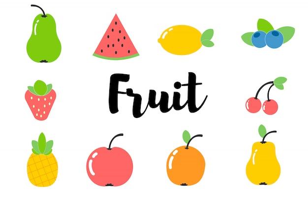 Lindas frutas e legumes. estilo simples.