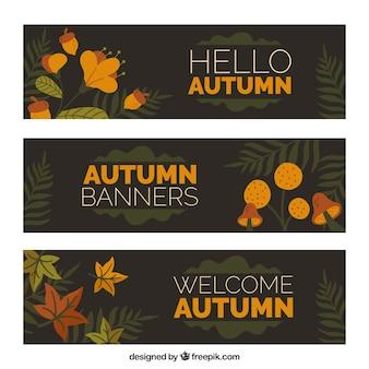 Lindas olá outono banners com design plano