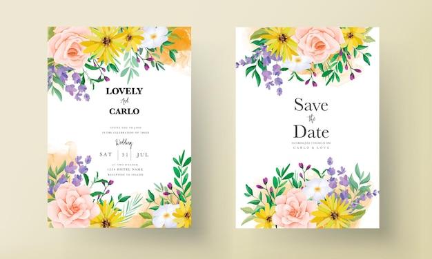 Lindas rosas e flores silvestres cartão de convite de casamento