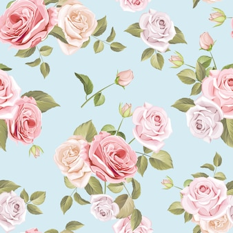 Lindas rosas e folhas padrão sem emenda