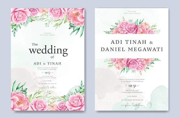 Lindas rosas e peônias no modelo de cartão de casamento