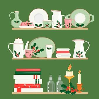 Lindas velas e toalhas de cerâmica requintadas nas prateleiras louças decorativas com padrão de natal