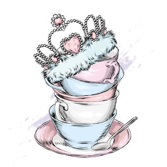 Lindas xícaras vintage, pires e coroa. ilustração.