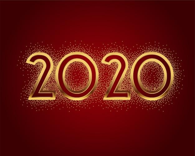 Lindo 2020 em cartão de estilo glitter dourado brilho
