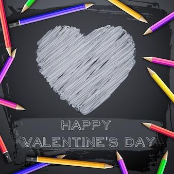 Lindo abstrato com coração para incubação e lápis coloridos no quadro-negro preto.