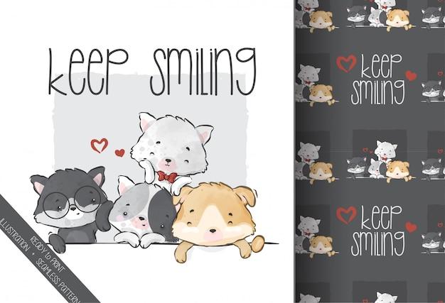 Lindo animal bebê gatinho e amigos sem costura padrão