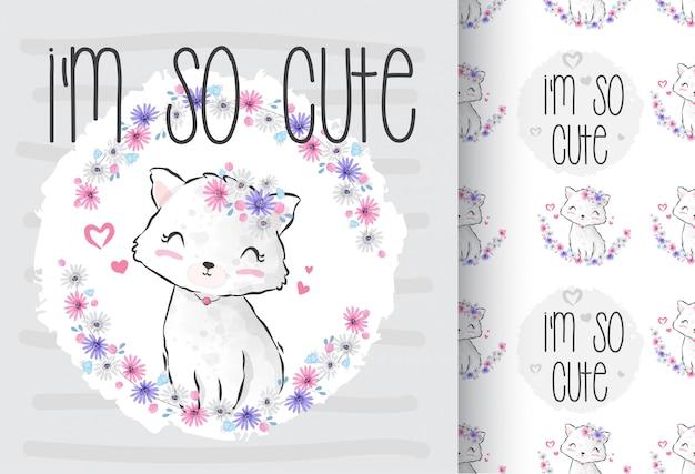 Lindo animal gatinho bonito com padrão sem emenda