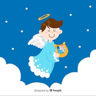 Lindo anjo de natal com design plano