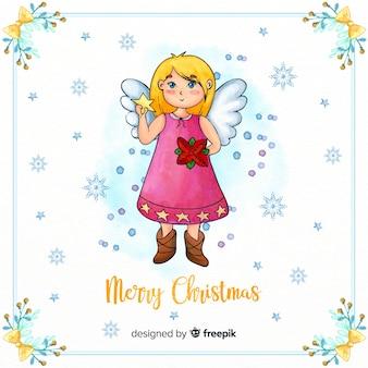 Lindo anjo de natal em aquarela