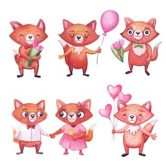Lindo aquarela raposas engraçadas para festa conjunto de personagens em branco animais para celebrações